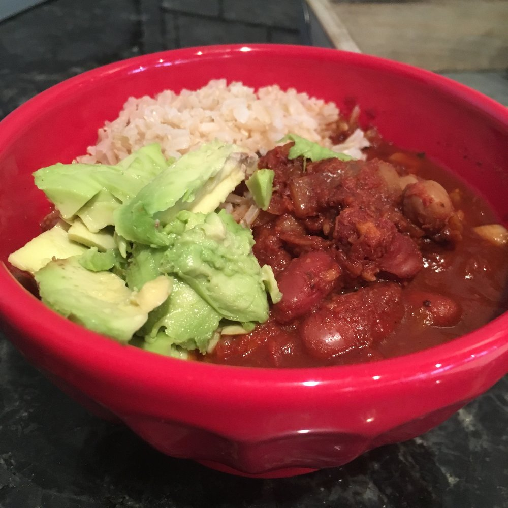 Chili, brown rice and avocados at home