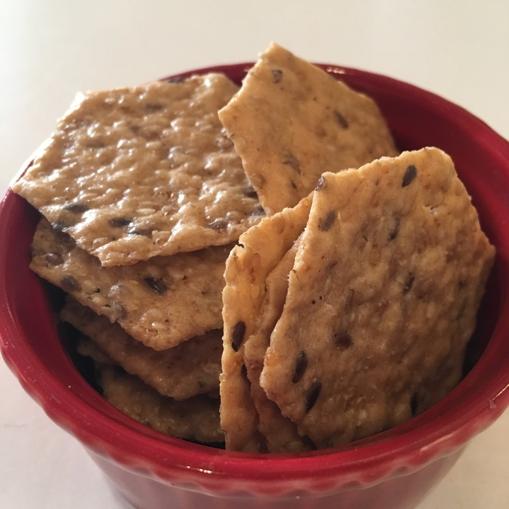 Rice crackers are great with hummus or nut pate