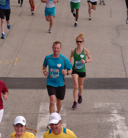 My 4th Broad Street Run in 2013. At this point, I was no longer a running newbie, but I still had – and have –a lot to learn. Looking at this photo, I can see how my form has improved since then. (The heart stickers were in honor of the Boston Marathon victims.)