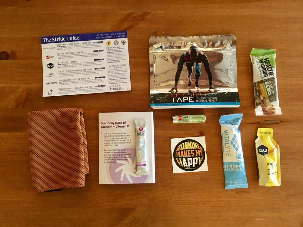 May StrideBox contents. Sticker and recipe/workout cards are nice extras.