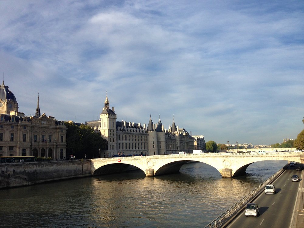 Sights like this are common if you run along the quais in Paris. Incidentally, that building with the grey turrets is La Conciergerie, where Marie Antoinette was imprisoned before she was executed.
