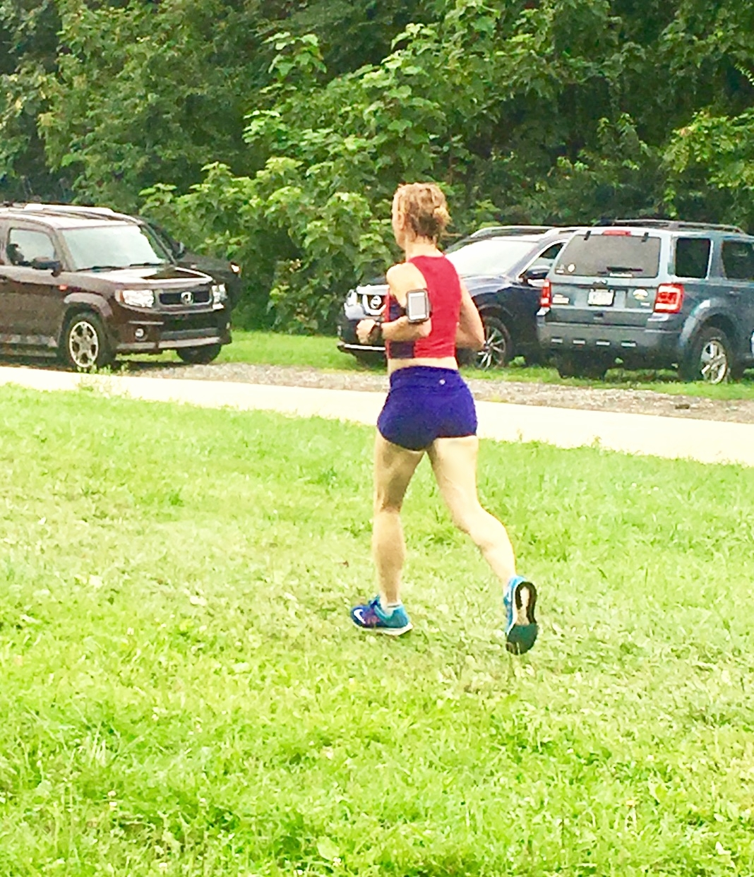 Only photo of me from the race (Thanks, Margaret!), exhausted as I head for the finish. It wasn't pretty.