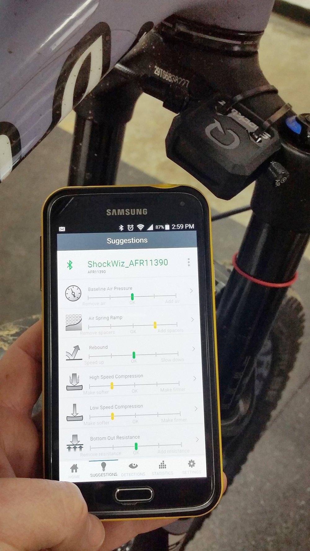 Shockwiz setup analysis from Hood River Bicycles Rock Shox Pike