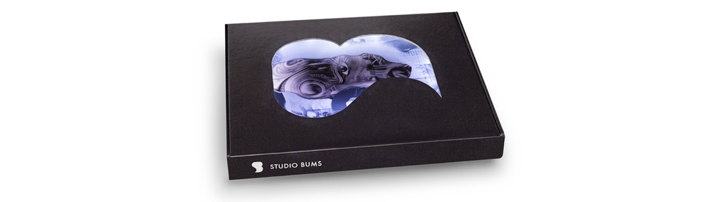 STUDIO BUMS®Special Edition magazine logo box.
