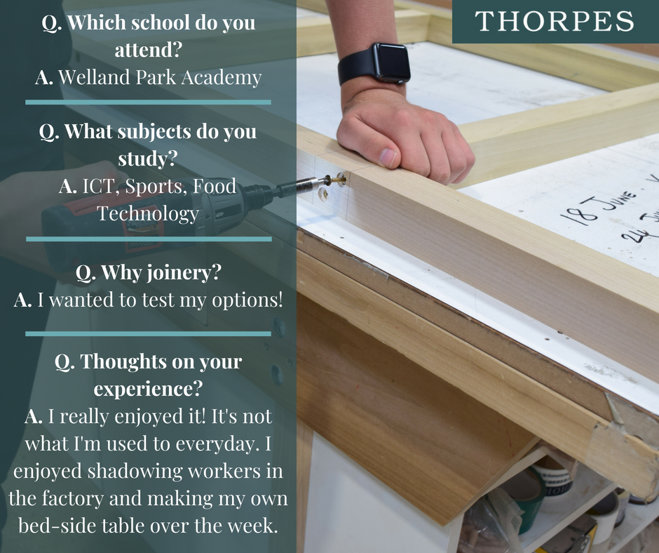 Thorpes Joinery - Market Harborough - Work Experience - Q&A