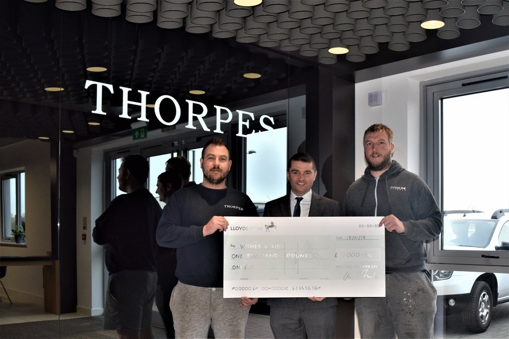 Adam and Rob welcomed Charity Manager Gary to our factory to collect the cheque and hear more about the work Wishes 4 Kids do in our community and beyond.