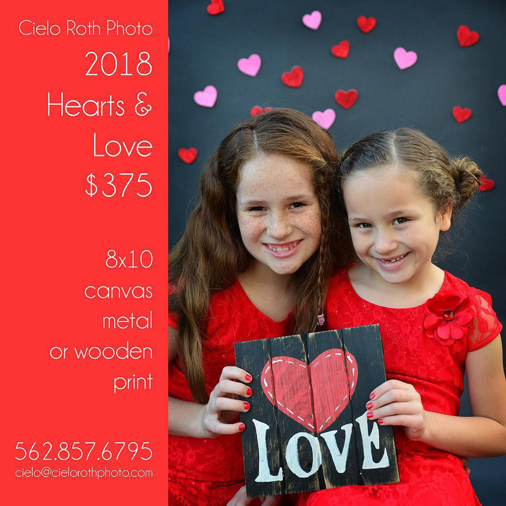 Hearts & Love Photo Sessions $375 for session plus 8x10 canvas, metal or wooden print.