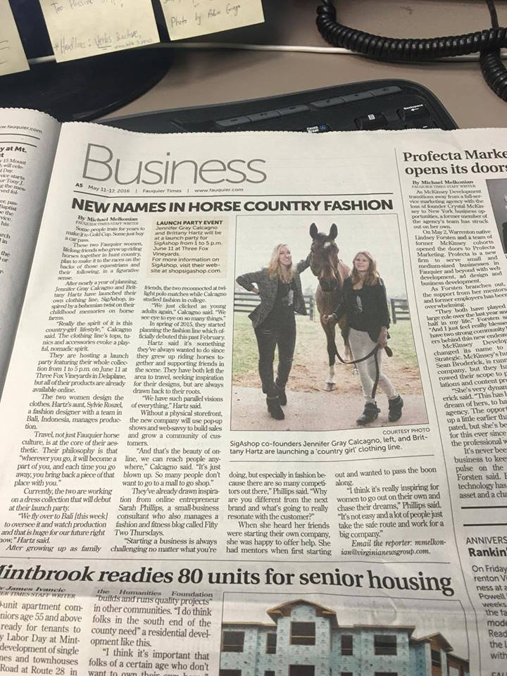 New Names in Horse Country Fashion,  As Published in Fauquier Times May 2016 Business Section.