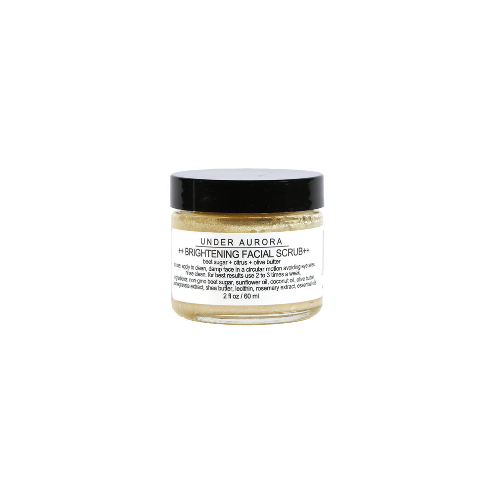 - I adore Under Aurora's products! I love the skin brightening scrub, which smells divine and isn't too harsh for my sensitive skin. It leaves my face feeling smooth and hydrated. I also use the scrub on my lips and hands! One small jar lasts me several months, so it's a great value. - Amy, Columbus Ohio