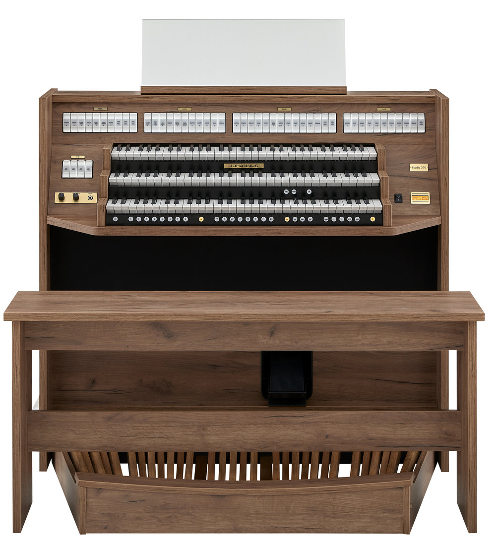 Now Available for order!NEW Studio 370 - The Studio 370 has its own, unique character. The clean lines of the organ's cabinet give it a modern and fresh look, while its new audio system provides a beautifully clear reproduction of the 37 pipe organ voices.