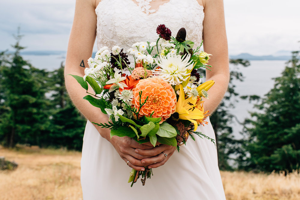 Early summer wedding at Turtlehead Farm, Orcas Island  photo: Jeff Frandsen