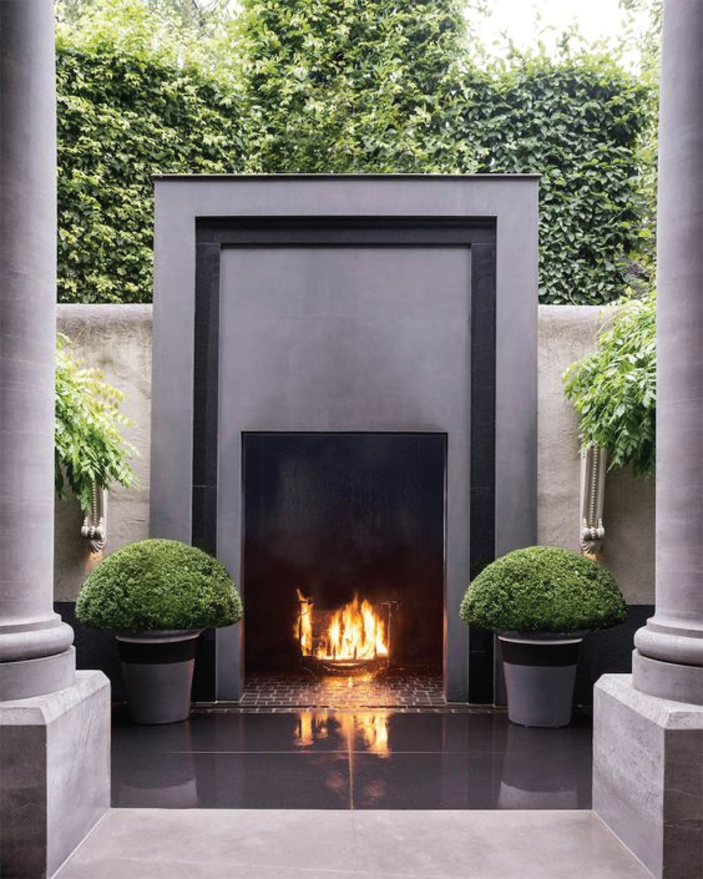On trend outdoor fireplaces akin design studio for Outdoor fireplace designs plans