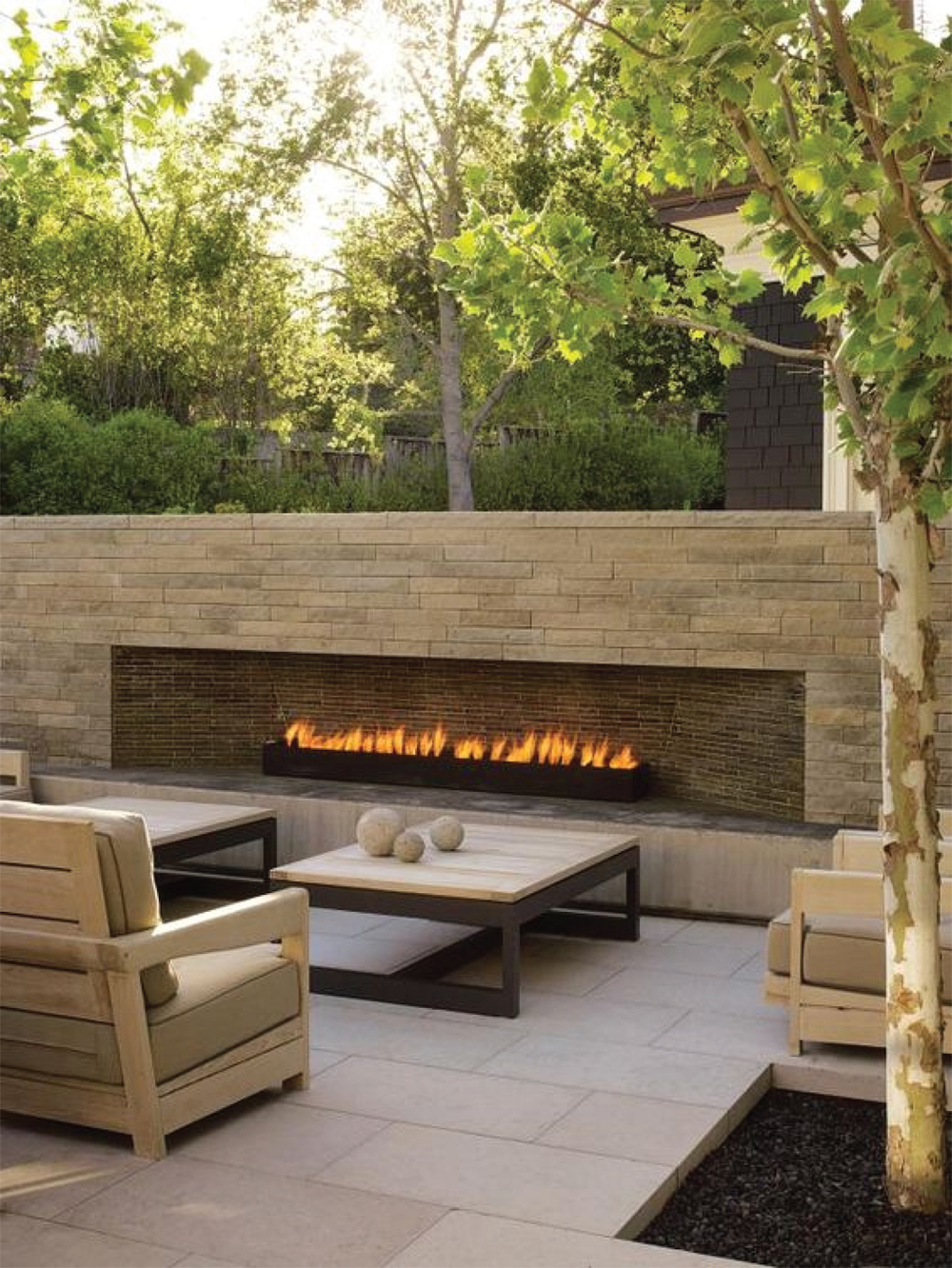 Modern Outdoor Linear Stone Fireplace