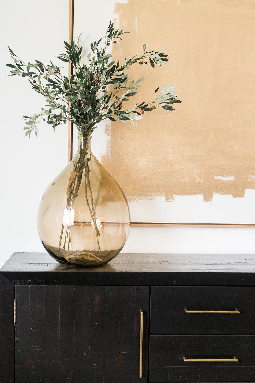 Akin Design Studio | Ironhorse Master Bedroom | Gold and greenery