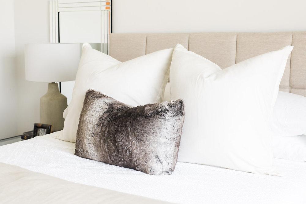 Akin Design Studio | Ironhorse Master Bedroom | White bedding