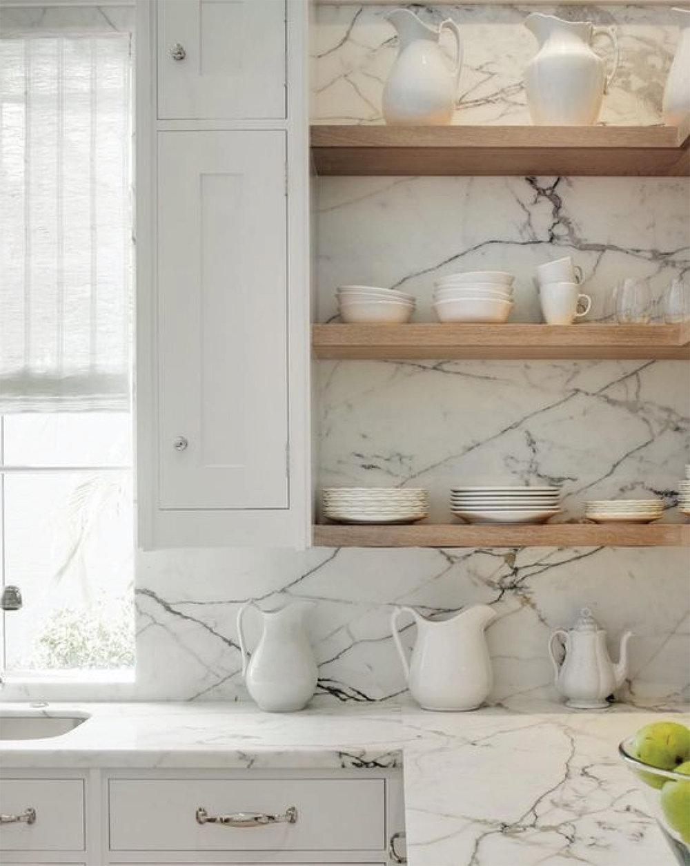 White Marble Kitchen Design | Floating Shelves | Akin Design Studio Blog