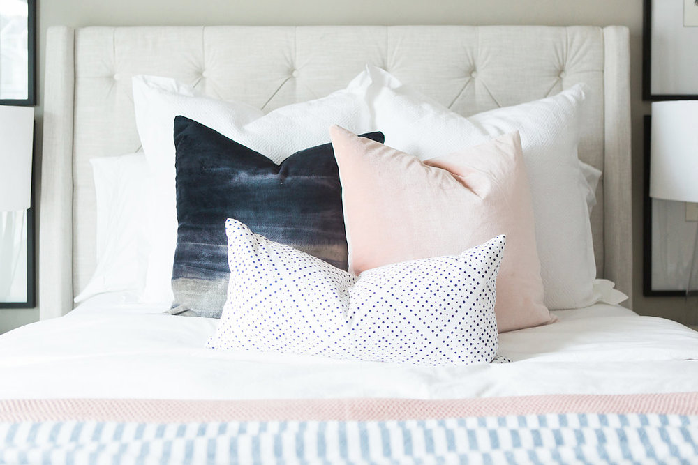 Transitional Bedroom Pillows | Akin Design Studio