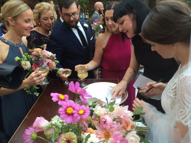 Making it official for the lovely Hillary + Dave yesterday ❤️🖋 So great to see the old crew at the Wythe Hotel for the same special occasion. Wishing H + D all the best 📸: @dawnmauberret Dawn Mauberret Events!! 💗💗💗#dearlybelovednyc #weddingofficiant