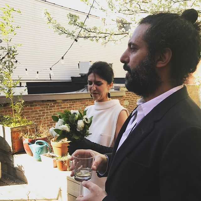 Just married these two lovely souls on their back patio under a blooming tree. With laryngitis to boot! Good thing it was close quarters so everyone could hear me! Congrats Ali + Iva 🖤 #dearlybelovednyc #weddingofficiant