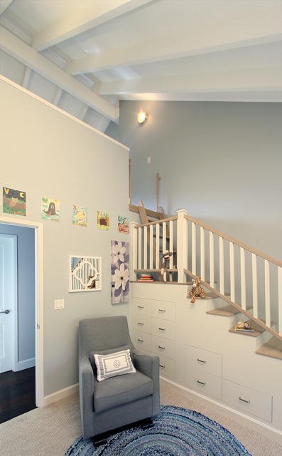 Denise designed a brilliant, functional solution for our home: kid-friendly loft access + storage. via DMID