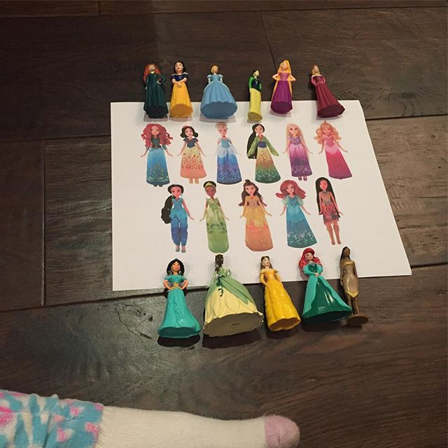 """My 5 year old is now requesting Google searches of """"princess action figures"""" so she can print them out, create a Princess Army standing in formation, and photograph them as they get ready to take over the world (obviously). We all should be scared.  #basicmommies #toddler #disneyprincess #kindergarten #mommy #google #toddlerfashion #toddlerlife #momlife"""