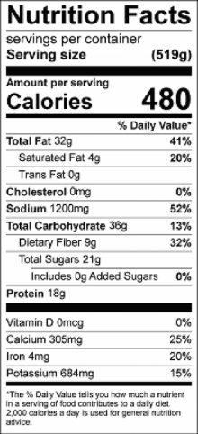 Nutrition information for 1 serving size