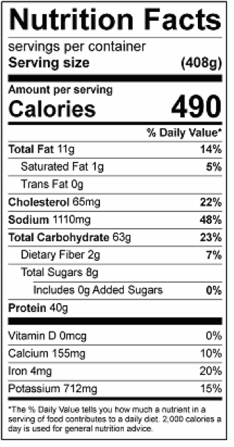 Nutrition facts include 1 slice of bread