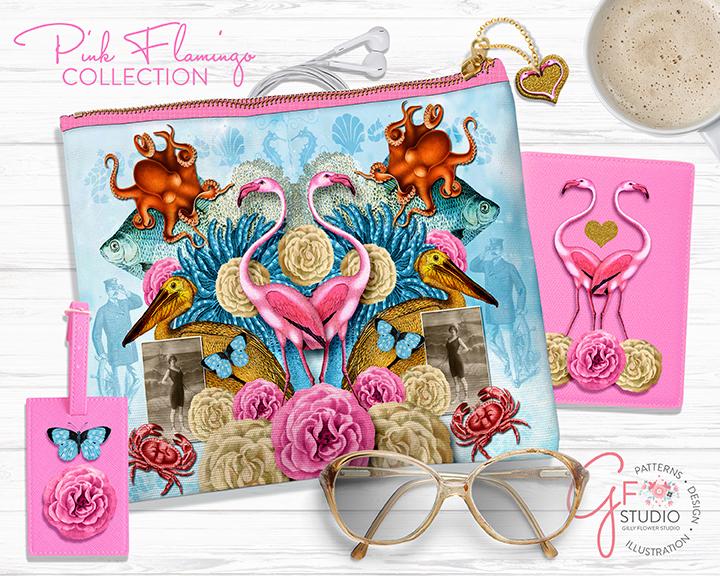 Pink Flamingo Zipper Pouch Moodboard