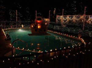 Christmas Lights around the Pool