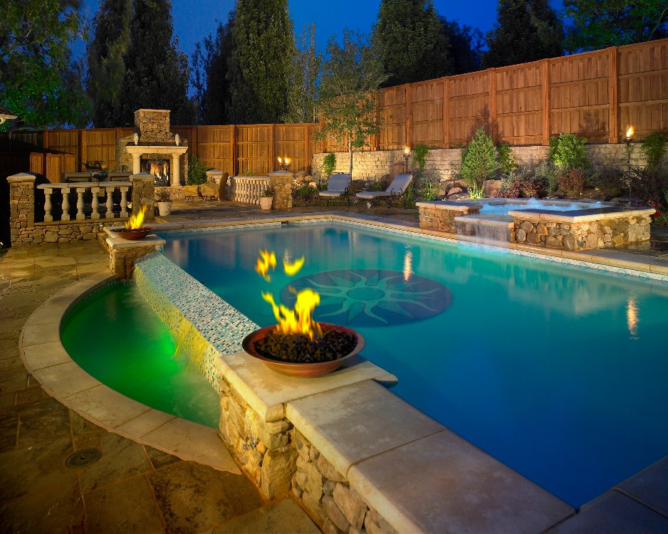 Natural stone pools for Pool with fireplace
