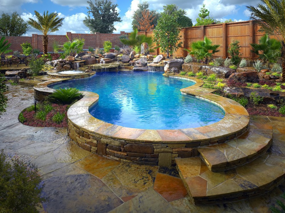 Exceptionnel ... Landscaping Swimming Pool Flagstone Deck ...