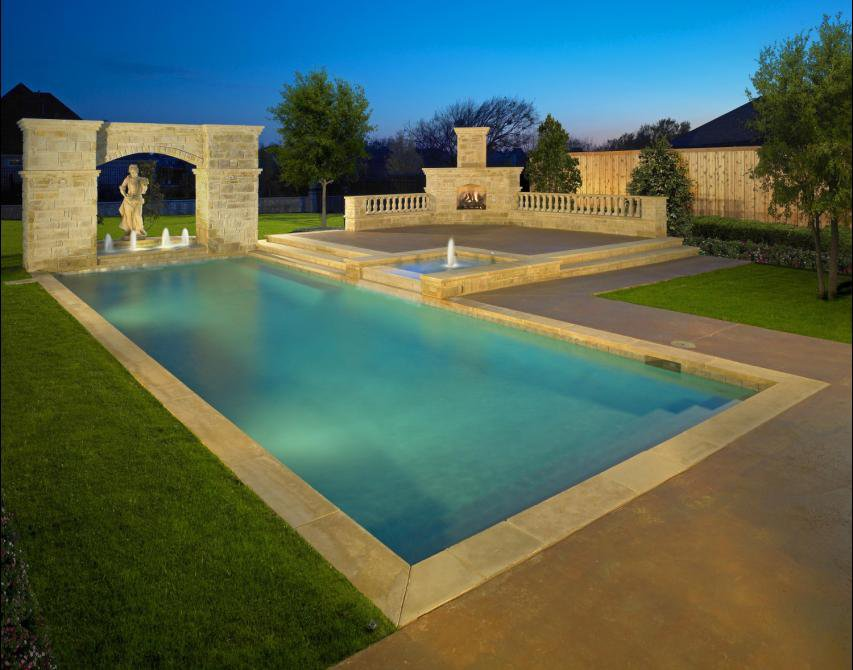 swimming-pool-statue-contemporary-fireplace-outdoor