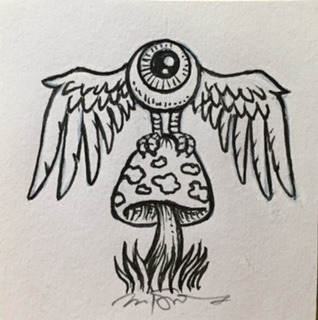 "Flying Eyeball on Shroom (2.5"" x 2.5"") $170"