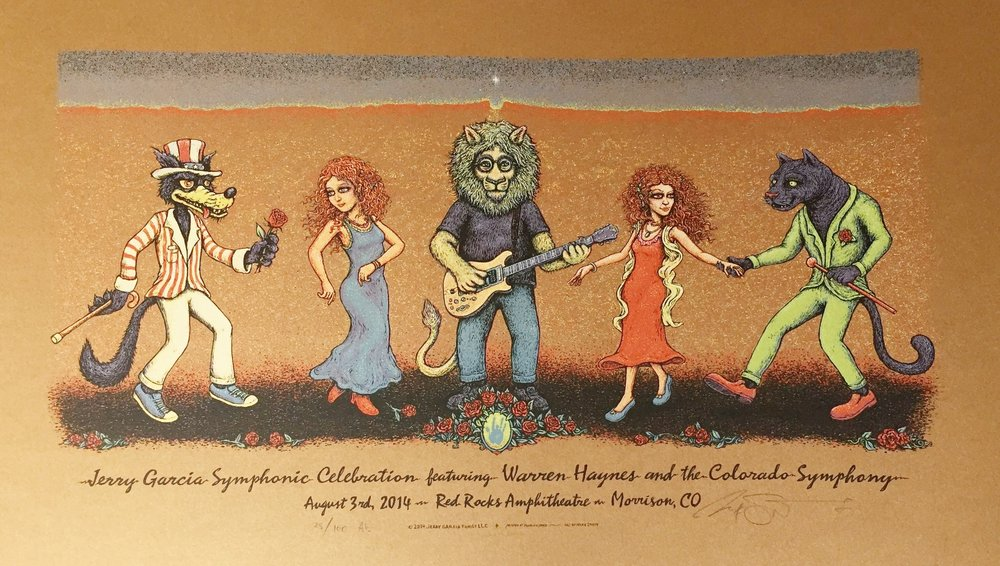 "Warren Haynes Jerry Garcia Tribute 2014 Artist Ed run of 100 14"" x 24"""