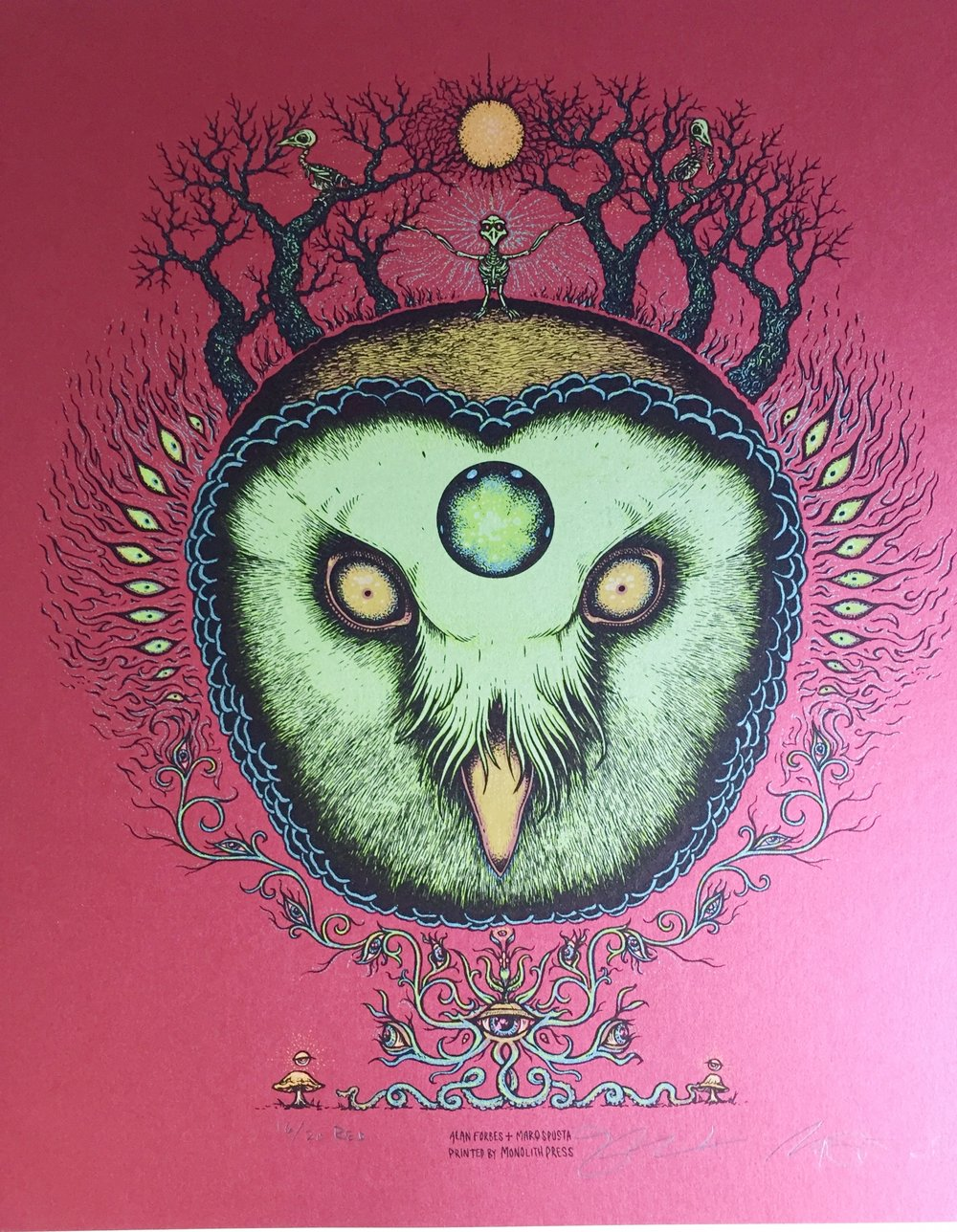"Ghost Owl by Alan Forbes & Marq Spusta 14"" x 16"" Red Variant run of 20"