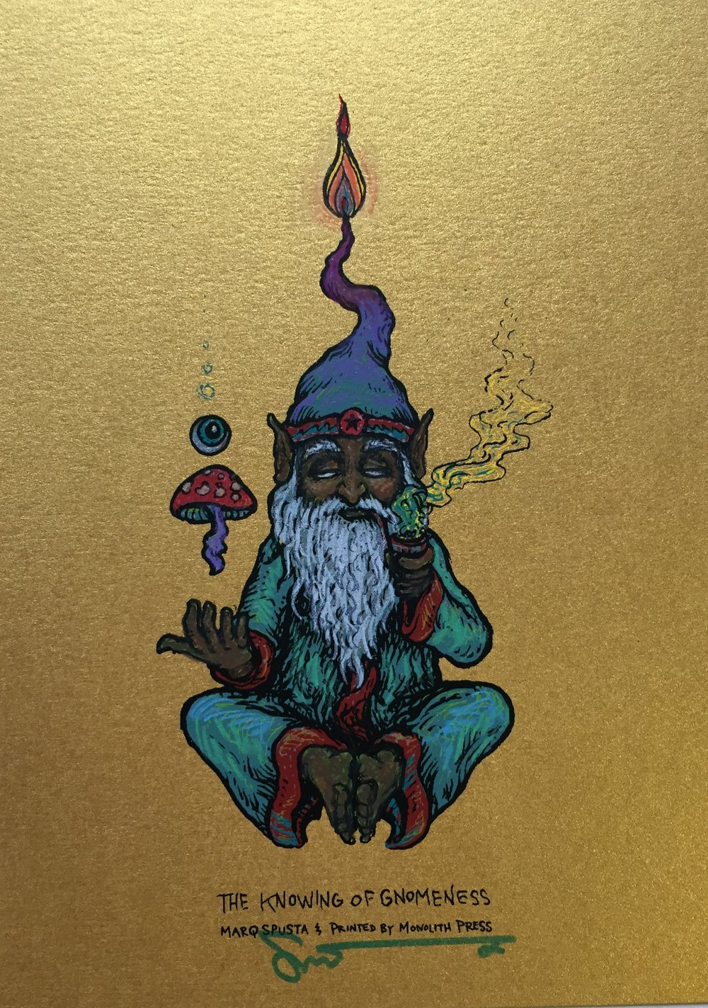 "#8 Embellished Knowing of Gnomeness 5"" x 7"" on Gold $160"