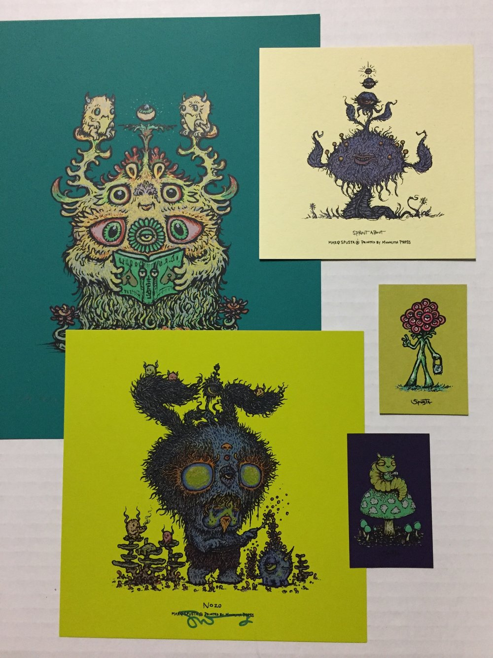 "Teal Variant Litboogel 8"" x 10"" + Absinthe Nozo 7"" x 7"" + minis pictured"