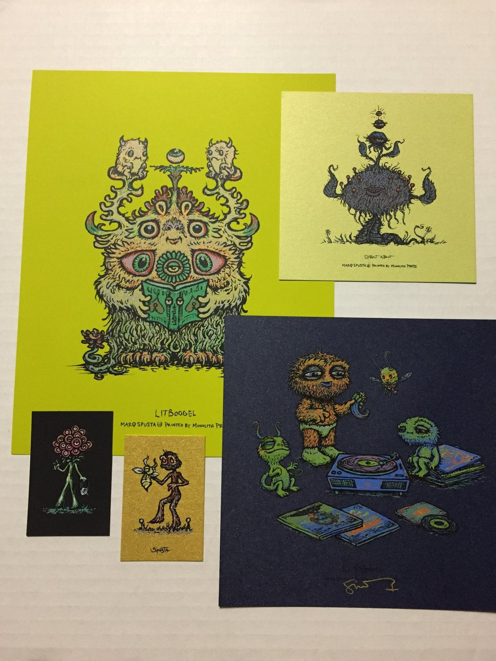 "Absinthe Variant Litboogel 8"" x 10"" + Blue Shimmer Lil Listeners 7"" x 7"" + minis pictured"