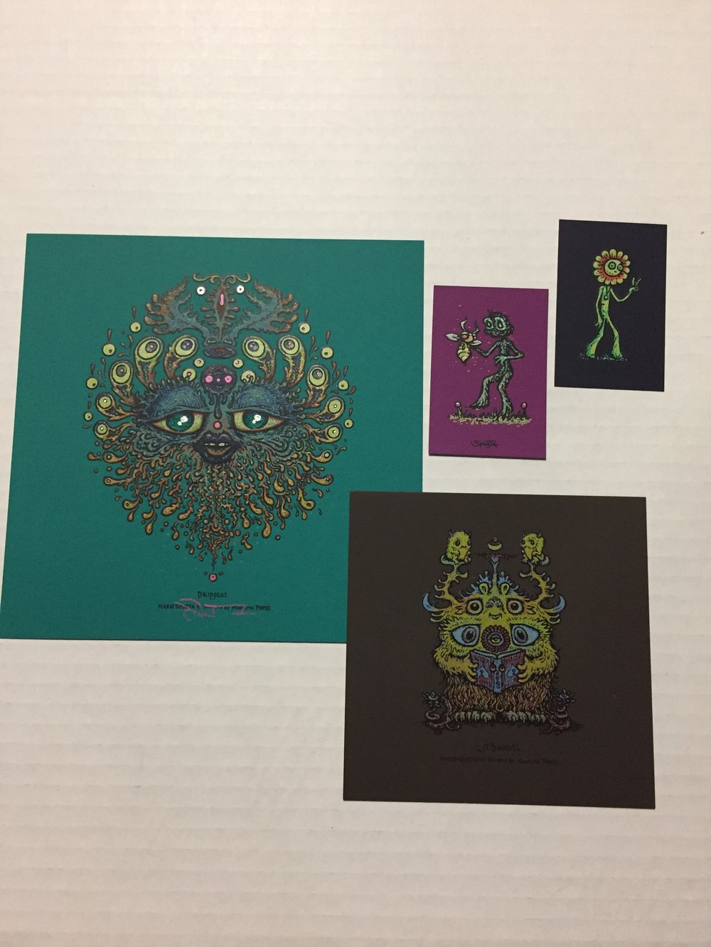 "Lightly Embellished 7"" x7"" Teal Dripples + Brown Rubber Litboogel + minis pictured"
