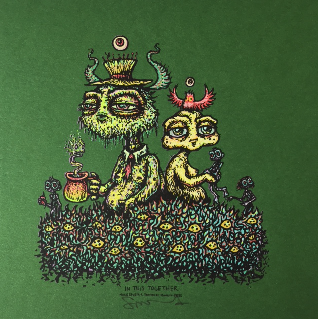 """#6 In This Together Green 7"""" x 7"""" + Knowing of Gnomeness"""