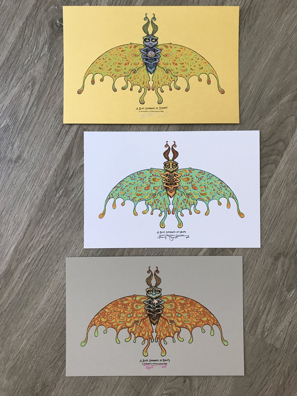 "$120 A Bug's Offering Set of 3 Prints size 6"" x 9"""