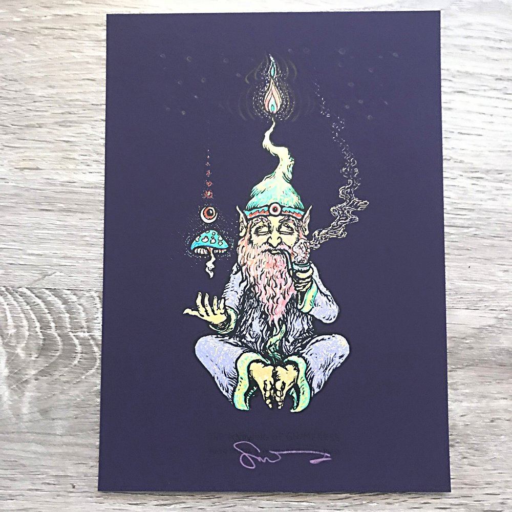 "Knowing of Gnomeness 5"" x 7"" on Purple Flat"