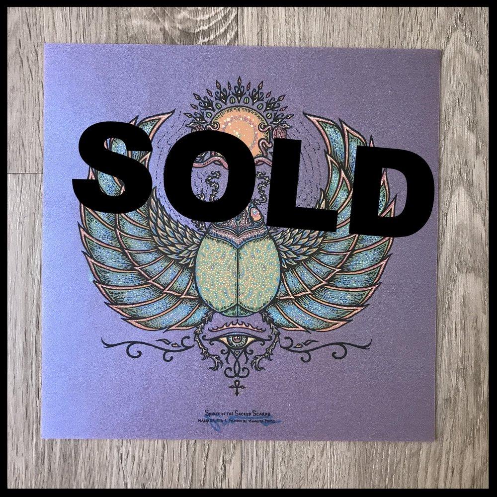 "$200 - PACK C - Spirit of the Sacred Scarab 7"" x 7"" on Purple Vellum"