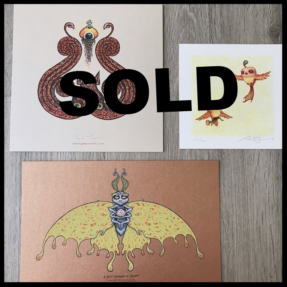 "$130 - PACK M - Squiddy 7"" x 7"" + Happy Pleasant Flight Giclee 5"" x 5"" + A Bug's Offering of Insight 6"" x 9"""