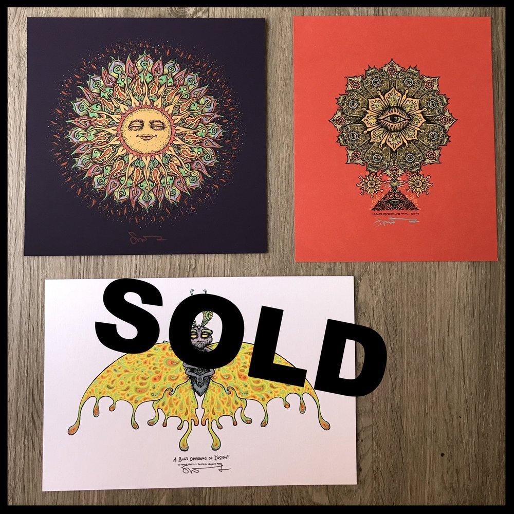 "$120 - PACK G - Sonny Bloom 7"" x 7"" + Flowering Eye Handbill + A Bug's Offering of Insight 6"" x 9"""