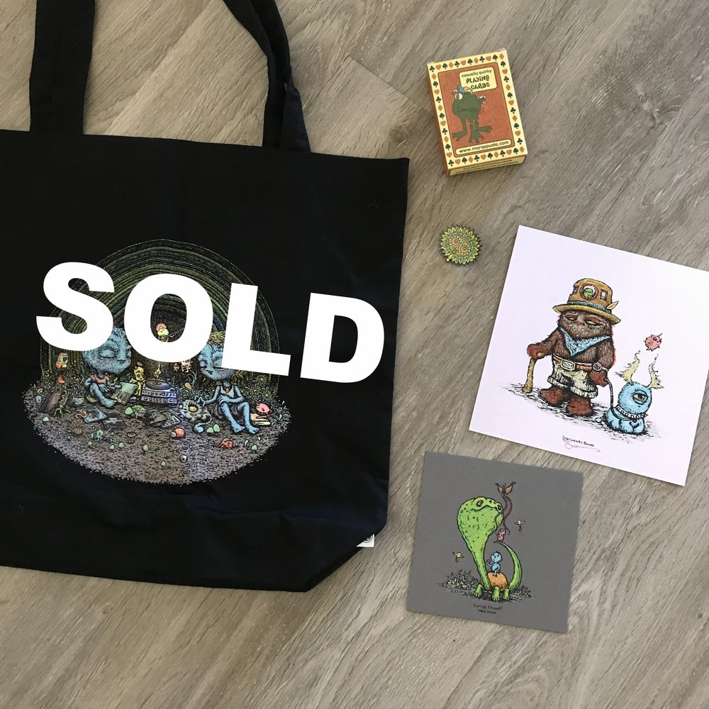 Prize 1: Listening Canvas Bag + Deck of Cards + Bloomer Pin + Minis Shown