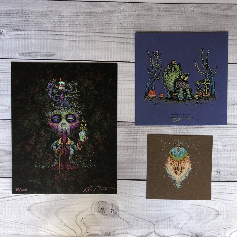 "$90 PACK 2 Includes The Wuz Is (8"" x 10""), Slowing for the Sound (7"" x 7"") and Solopuff (5"" x 5"")"