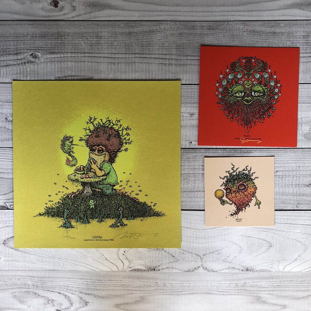 "$100 PACK 4 Includes Nibbles (12"" x12""), Dripples (7"" x 7"") and Balwa (5"" x 5"")"