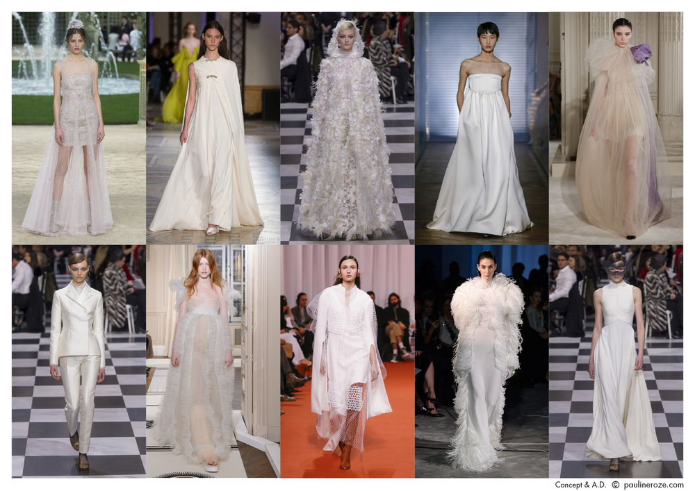 From left to right, top to bottom:  Chanel, Giambattista Valli, Christian Dior, Givenchy, Valentino, Christian Dior, Schiaparelli, Ellery, Fransesco Scognamiglio, Christian Dior