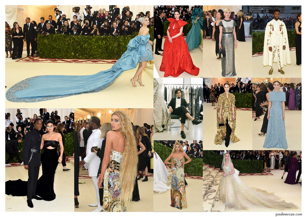 From top to bottom, left to right:  Diane Kruger in Prabal Gurung, Anne Hathaway in Valentino, Michelle Williams in Louis Vuitton, Chadwick Boseman in Versace, Cole Sprouse in Thom Browne, Evan Rachel Wood in Altuzarra, Rooney Mara in Givenchy, Travis Scott in Alexander Wang, Stella Maxwell in Moschino, Kate Bosworth in Oscar de La Renta